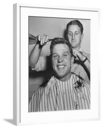 New US Sailor Getting a Haircut at the Great Lakes Naval Training Station