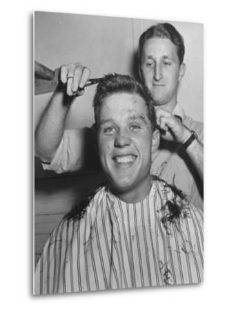 New US Sailor Getting a Haircut at the Great Lakes Naval Training Station by Bernard Hoffman
