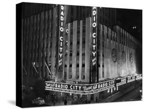 Nighttime Exterior of Radio City Music Hall by Bernard Hoffman