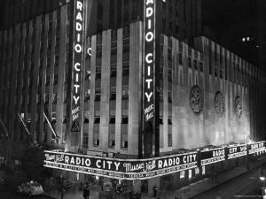 Nighttime Exterior of Radio City Music Hall by Bernard Hoffman