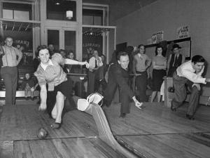 People Bowling at New Duckpin Alleys by Bernard Hoffman
