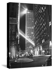 Radio City Shining with Many Bright Lights During the Night by Bernard Hoffman