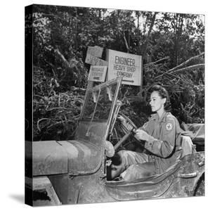 Red Cross Worker Janet Schwerton (Of Newton, Ma) Drives Jeep Along the Ledo Road, Burma, July 1944 by Bernard Hoffman