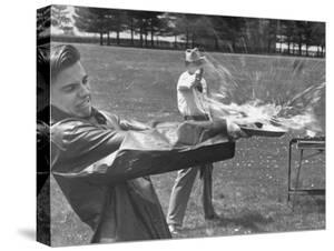 Trick Shot Champ Bob Geesey Shattering Egg by Bernard Hoffman