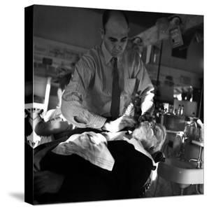 Vice President John Garner Being Shaved by the Barber by Bernard Hoffman
