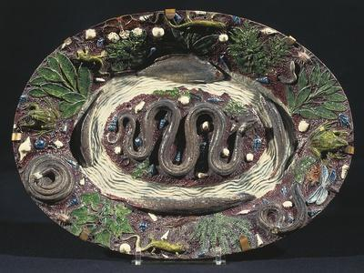 Plate with Embossed Naturalistic Decorations and Polychrome Enamel