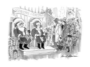 A shopping mall Santa and wife. - New Yorker Cartoon by Bernard Schoenbaum