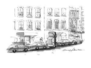 Car parked on it's end. - New Yorker Cartoon by Bernard Schoenbaum