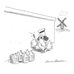 Dutch boy standing by the broken dike filling bottles that say 'Natural Di? - New Yorker Cartoon by Bernard Schoenbaum
