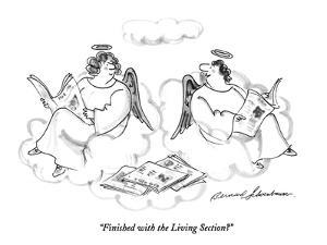 """""""Finished with the Living Section?"""" - New Yorker Cartoon by Bernard Schoenbaum"""