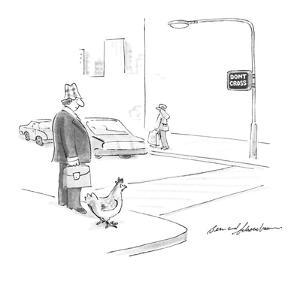 Man and chicken are waiting for the cross-walk sign to change. - New Yorker Cartoon by Bernard Schoenbaum