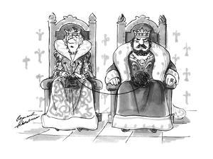 Queen knitting with ball of wool in king's lap. - New Yorker Cartoon by Bernard Schoenbaum