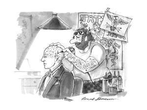 Tattoo artist puts phrenological markings on a man's bald head. - New Yorker Cartoon by Bernard Schoenbaum