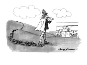 The Pied Piper leads the rats to 'L.J.Labs'. - New Yorker Cartoon by Bernard Schoenbaum
