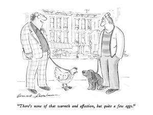 """""""There's none of that warmth and affection, but quite a few eggs."""" - New Yorker Cartoon by Bernard Schoenbaum"""