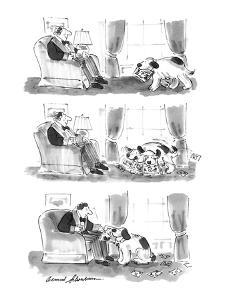 Three-part series shows dog carrying magazine in its mouth to its master, ? - New Yorker Cartoon by Bernard Schoenbaum