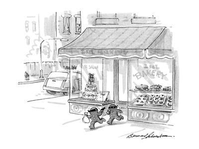 Two gingerbread men robbing a bakery. - New Yorker Cartoon