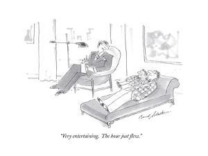 """Very entertaining.  The hour just flew."" - Cartoon by Bernard Schoenbaum"