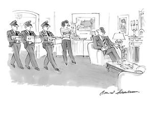 Wife confronts husband in living room with three men delivering boxes of i? - New Yorker Cartoon by Bernard Schoenbaum