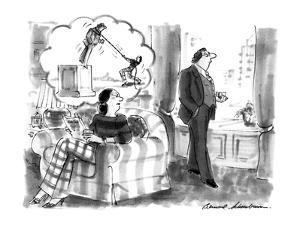 Wife has a mental image of pulling down a statue of her husband.  Refers t? - New Yorker Cartoon by Bernard Schoenbaum