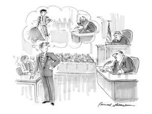 Young suave attorney, cross-examining older, heavy man, fancies himself as? - Cartoon by Bernard Schoenbaum