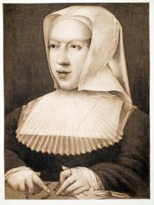 Margaret of Savoy/Austria, Regent of the Netherlands, Pub. 1902 (Collotype) by Bernard van Orley