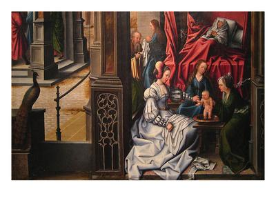 The Birth and Naming of Saint John the Baptist; Trompe-L'Oeil with Painting of the Man of Sorrows