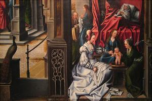The Birth and Naming of Saint John the Baptist; Trompe-L'Oeil with Painting of the Man of Sorrows by Bernard van Orley
