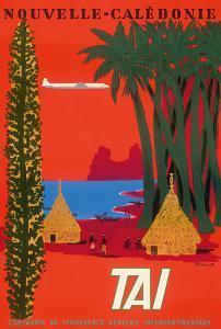 Nouvelle Caledonie (New Caledonia) - Native Kanak People Grand Huts - TAI Airline by Bernard Villemot