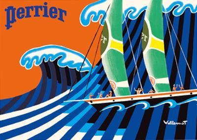 Perrier - The Sailboat - Hokusai The Great Wave by Bernard Villemot