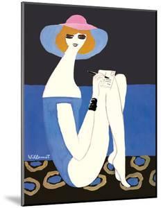 Woman Writing on Postcard by Bernard Villemot