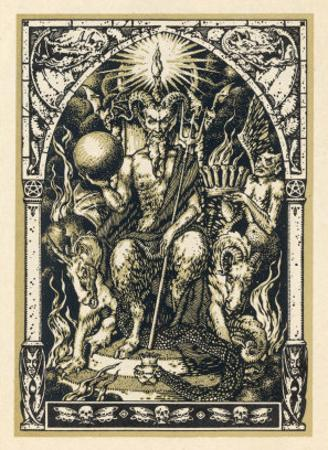 Satan Presides at the Sabbat Attended by Demons in Human or Animal Shapes