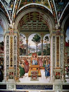 Aeneas Sylvius Piccolomini (1405-64) Delivers an Oration before King James I of Scotland… by Bernardino di Betto Pinturicchio