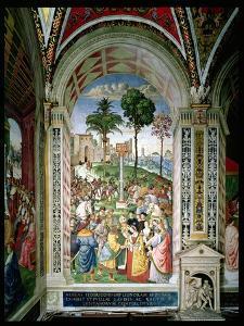 Aeneas Sylvius Piccolomini (1405-64) Presents Eleonora of Aragon to Frederick III (1415-93) on… by Bernardino di Betto Pinturicchio