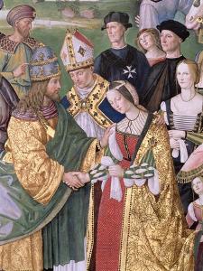 Aeneas Sylvius Piccolomini (1405-64) Presents Eleonora of Aragon to Frederick III (1415-93),… by Bernardino di Betto Pinturicchio
