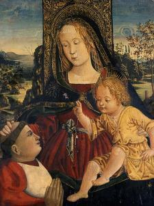 Madonna and Child with a Cardinal as a Benefactor, C.1500 by Bernardino di Betto Pinturicchio