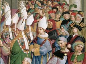 The Cardinals Processing Through the Crowd of Secular Onlookers, Detail from 'Aeneas Sylvius… by Bernardino di Betto Pinturicchio