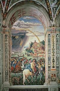The Departure of Aeneas Silvius Piccolomini for Basel, C.1503-8 by Bernardino di Betto Pinturicchio