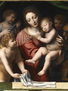 Le Sommeil de l'Enfant Jésus, ou la Vierge tenant l'Enfant Jésus endormi, a by Bernardino Luini