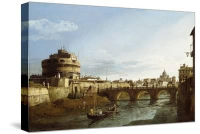 A View of Rome looking West, with Boats along the Tiber and the Castel Saint'Angelo in the distance