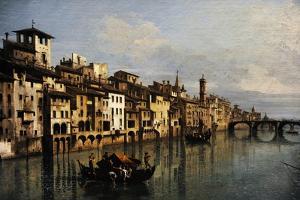 Bernardo Bellotto (1721-1780). The River Arno in Florence, 1742 by Bernardo Bellotto