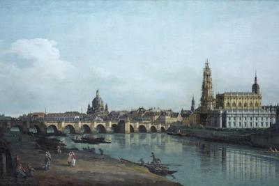 Dresden Seen from the Right Bank of the Elbe, Beneath the Augusts Bridge, 1748