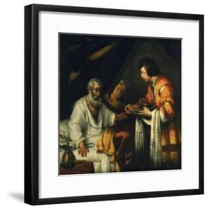 Isaac Blesses Jacob, Early 17th Century by Bernardo Strozzi