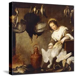 La Cuoca - a Kitchen Maid Plucking a Goose in an Interior by Bernardo Strozzi