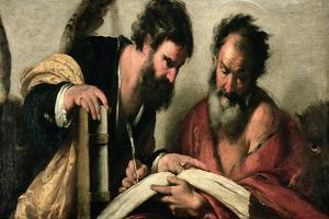 Saints John the Evangelist and Mark Discussing their Writings by Bernardo Strozzi
