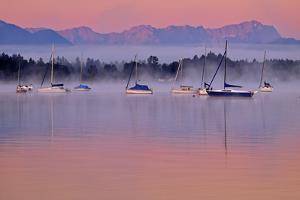 Germany, Bavaria, 5-Sea Country, Saint Heinrich, Lake Starnberg Zugspitze Massif, Wetterstein Range by Bernd Rommelt
