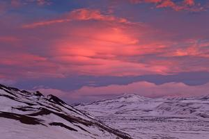 Iceland, Iceland, North-East, Ring Road, Region of Myvatn, Morning Mood in the Hildarfjall and the  by Bernd Rommelt