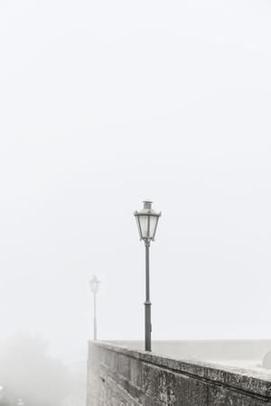 Citta di San Marino, Europe, street lamps in the fog,