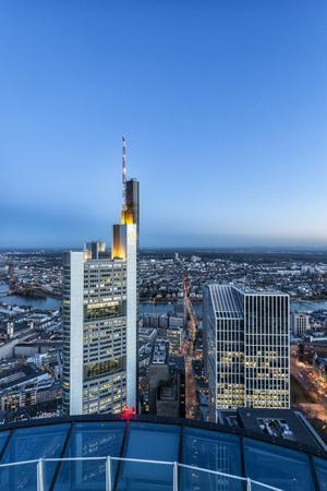 Frankfurt on the Main, Hesse, Germany, Europe, Skyline at Dusk with View of the Commerbank