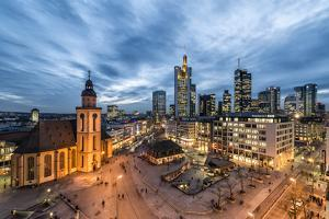 Germany, Hesse, Frankfurt on the Main, Skyline with Hauptwache and St. Catherine's Church by Bernd Wittelsbach